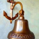TITANIC DOOR BELL IN BRASS WITH ENGRAVED ANCHOR MOUNT & LANYARD ROPE. AUTHENTIC.