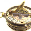 MULTI-FUNCTION ANTIQUATED BRASS SUNDIAL COMPASS w WORLD TIME CALCULATOR