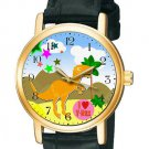 BEAUTFUL  RARE DINOSAUR T-REX COMIC ART CHILDREN'S 30 mm WRIST WATCH