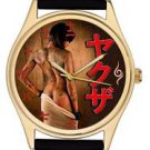 RARE JAPANESE MAFIA YAKUZA TATTOOED NUDE COLLECTIBLE GOLD-WASHED WRIST WATCH