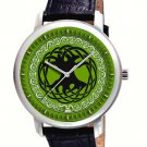 STUNNING TREE OF LIFE IRISH GREEN CELTIC ART COLLECTIBLE WRIST WATCH IN BRASS