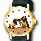 CLASSIC BASSET HOUND VINTAGE DOG PORTRAIT ART COLLECTIBLE UNISEX WRIST WATCH