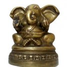 Vintage 1960s Ultra-Large Ears Ganesha Ganesh Hindu Diety Solid Brass 7.5 Inches