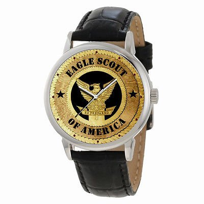 EAGLE SCOUT PRESENTATION WRIST WATCH, TRADITIONAL AMERICAN WOODCUT ART DIAL.