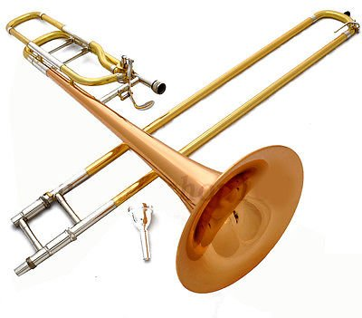 PRO-GRADE Bb/F TRIGGER TROMBONE. GOLD-LACQUERED BRASS. FAST USA SHIPPING.