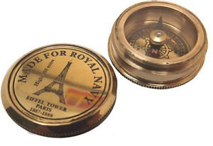 MINIATURE 2 cm FULLY FUNCTIONAL CHUNKY BRASS EIFFEL TOWER POCKET WATCH COMPASS