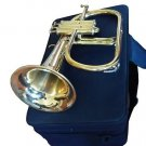 CLASSIC GOLD FINISH 3-VALVE INTERMEDIATE FLUGEL HORN FLUGELHORN w DESIGNER CASE