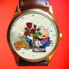 "VINTAGE ZIGGY ""MAYFLOWERS"" COMIC ART COLLECTIBLE 30 mm UNISEX WRIST WATCH"