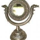 STUNNING VINTAGE 1920s ELEPHANT FILIALS VANITY MIRROR 15-INCH WHITE METAL BEAUTY