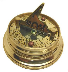 MULTI-FUNCTION POCKET WATCH STYLE BRASS SUNDIAL COMPASS w WORLD TIME CALCULATOR