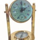 RARE BRASS & CRYSTAL GLOBE MARINE GYMBAL CLOCK w COMPASS, 8-DAYS MECHANICAL