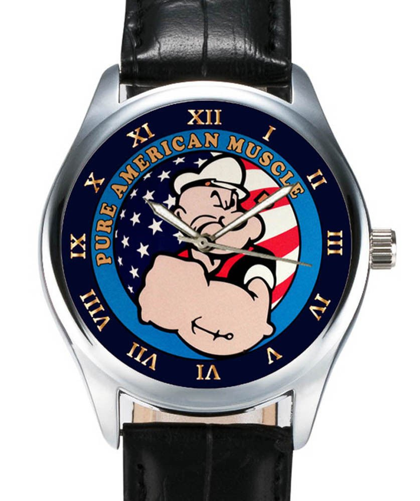 ALL AMERICAN MUSCLE! CLASSIC COLLECTIBLE ADULT-SIZE POPEYE THE SAILOR MAN WATCH