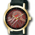 GORGEOUS AUSTRALIAN ABORIGINE KANGAROO ART 30mm UNISEX WRIST WATCH, OCHRE COLORS