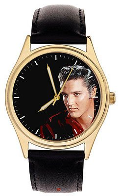 "STUNNING CRIMSON ART ELVIS PRESLEY ""THE KING"" COLLECTIBLE 40 mm WRIST WATCH"