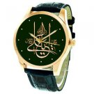 YA ALI MADAD, LARGE FORMAT SHIA ISLAM CALLIGRAPHY GREEN DIAL WRIST WATCH
