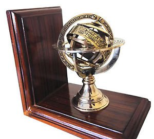 NAUTICAL THEME FRENCH ARMILLARY SPHERE BOOKENDS, HEAVY BRASS & ROSEWOOD. 1 PAIR