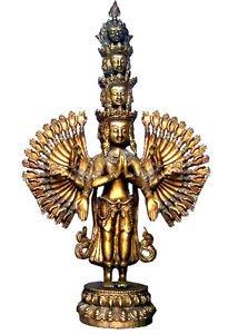 ANTIQUE BRASS 23-INCH STATUE BUDDHA AMOGHAPASA LOKESHWAR AVALOKITESHWARA NEPAL