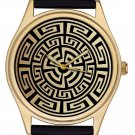 Vintage Antique Aztec Pattern Lovely Gold-Washed Brass Boyfriend / Unisex Watch
