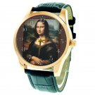 THE MONA LISA. BEAUTIFUL HIGH-QUALITY 40 mm EYE-CATCHING UNISEX ART WRIST WATCH