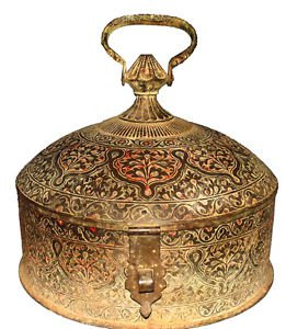 ISLAMIC MUGHAL INDIA 1790s BIG 17-INCH ENGRAVED + ENAMEL BRASS STORAGE CONTAINER