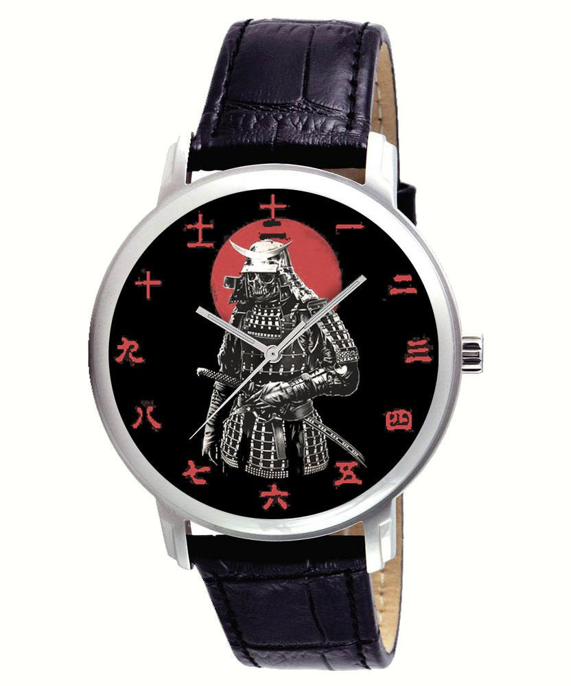 KANJI DIAL JAPANESE SAMURAI IN ARMOUR PARCHEMENT ART MEDIEVAL NIPPON ART WATCH