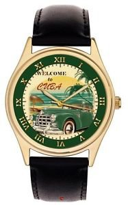 CUBA HAVANA REDISCOVERED VINTAGE GREEN CAR ENTHUSIAST CULT ART WRIST WATCH