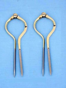 VINTAGE PAIR OF HEAVY BRASS BRITISH NAUTICAL NAVIGATION DIVIDERS. 8 INCHES