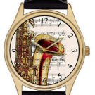 CLASSIC SAX ART SAXOPHONE PLAYER'S MUSICAL NOTATION ART WRIST WATCH, LOVELY!