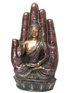 Hand-Painted Bronze Buddha with Blessing Hand Backdrop. Superb Detailing.