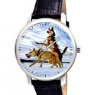 CLASSIC SKY BLUE HUSKIES EVOCATIVE DOG ART LARGE 40 mm UNISEX WRIST WATCH