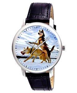 CLASSIC SKY BLUE HUSKIES EVOCATIVE DOG ART LARGE 40 mm UNISEX WRIST WATCH