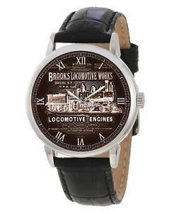 VINTAGE BROOKS LOCOMOTIVE COMPANY STEAM ENGINE FORGED IRON PLATE ART WATCH