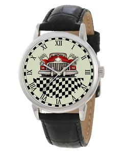 VINTAGE HOTROD CAR RACING CHEQUERED FLAG TARMAC STEAMPUNK RETRO COLORS WATCH