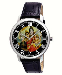BEAUTIFUL SHIVA PARVATI  GANESHA HINDU DEVOTIONAL ART 40 mm UNISEX WRIST WATCH