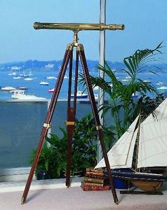 Classic Nautical Fleet Review Telescope in Brass (102 cm) + 5-ft Rosewood Tripod
