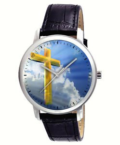 BEAUTIFUL SYMBOLIC CHRISTIAN ART HOLY CROSS IN THE HEAVENS COLLECTIBLE WATCH