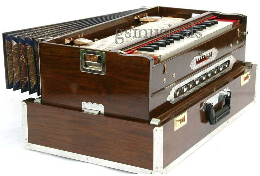HARMONIUM 9 SCALE CHANGER TEAK WOOD 3 SET PORTABLE TRAVELLER MODEL GSM048