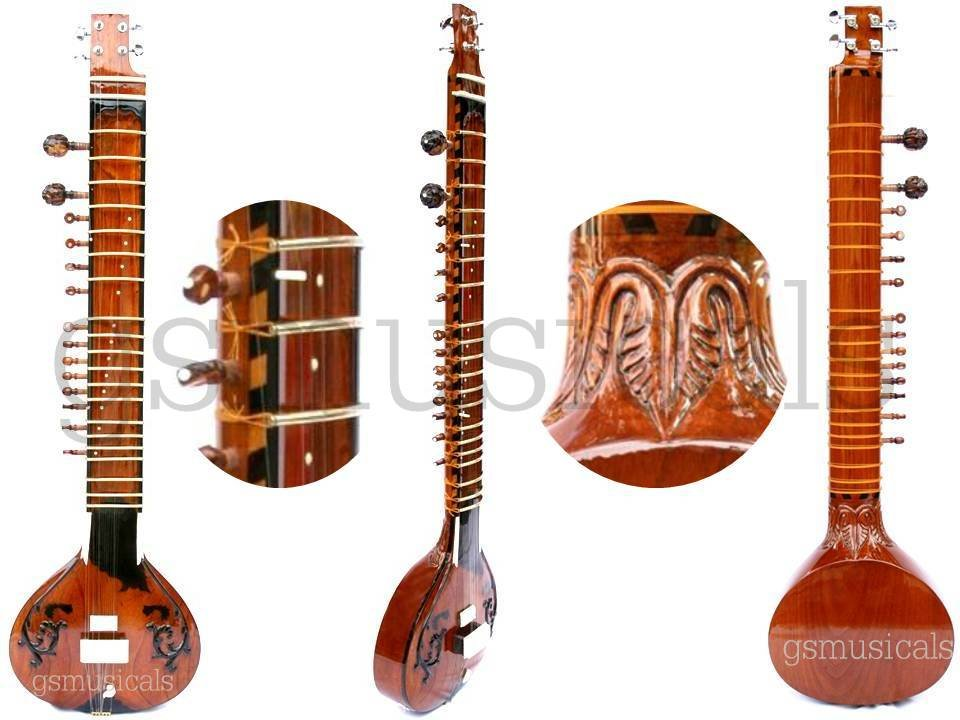SITAR HEMRAJ FUSION ELECTRIC SITAR WITH FIBREGLASS CASE GSM023 CA