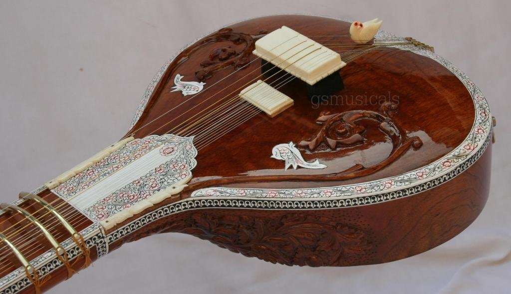 SITAR CARVING FUSION ELECTRIC SITAR WITH FIBREGLASS CASE GSM017
