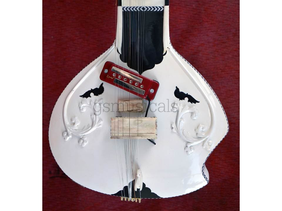 SITAR WHITE BEAUTY STUDIO FUSION WITH FIBERGLASS CASE GSM021 CA