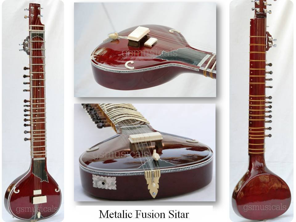 SITAR METALIC FUSION  ELECTRIC CORAL TRAVEL ACOUSTIC WITH FIBERGLASS CASE GSMGS#
