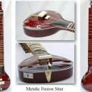 SITAR METALIC FUSION  ELECTRIC CORAL TRAVEL ACOUSTIC WITH FIBERGLASS CASE GSM0#G