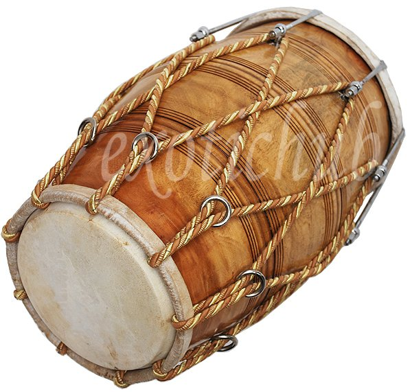 DHOLAK DRUM~BOLT & ROPE TUNED~NATURAL WOOD COLOR POLISH~SPECIAL SKIN~DHOLAK EHS