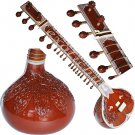 BUY SITAR~RAVI SHANKAR STYLE WITH FIBER BOX~TUN WOOD~FREE STRING/MIZRABS/BOOK
