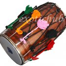 DHOL DRUM~PUNJABI BHANGRA~SOLID SHEESHAM WOOD~PLAYING STICK~DHOLAK~NAAL~PAKHAWAJ