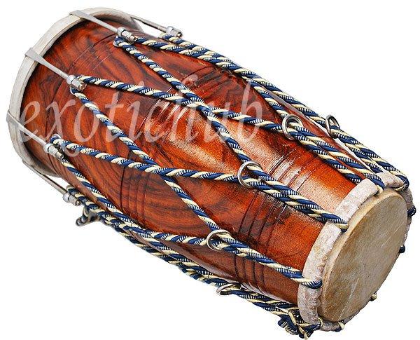 DHOLAK DRUM~ROPE+BOLT TUNED~SHEESHAM WOOD~DHOLAKI~DHOL~NAAL~USE IN BHAJAN~KIRTAN