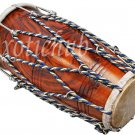 DHOLAK DRUM~ROPE+BOLT TUNED~SHEESHAM WOOD~DHOLAKI~DHOL~NAAL~USE IN BHAJAN~KIRTAN