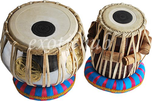 TABLA DRUMS SET~OM BRASS 2.5 KG BAYAN~SHEESHAM WOOD DAYAN~HAMMER & CUSHION