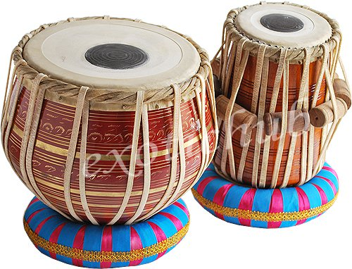 TABLA DRUMS SET~RED BRASS 2.5KG BAYAN~SHESHAM WOOD DAYAN~HAMMER/ CUSHION/COVER
