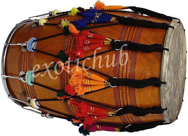 BUY MANGO WOOD PUNJABI BHANGRA DHOL DRUM~WITH PLAYING STICKS AND DECORATION PART